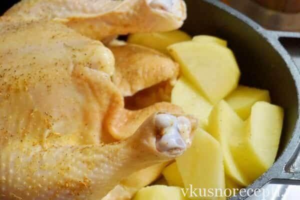 Курица с картошкой запеченная в духовке