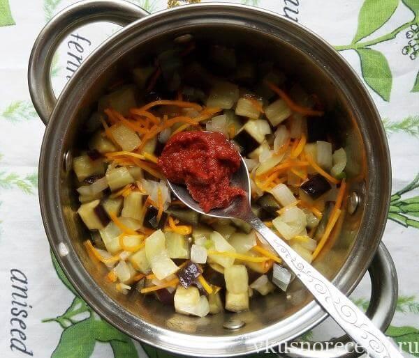Салат из баклажанов на зиму с томатной пастой