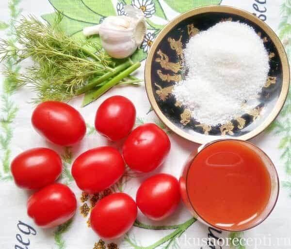 Ингредиенты для помидоров в собственном соку