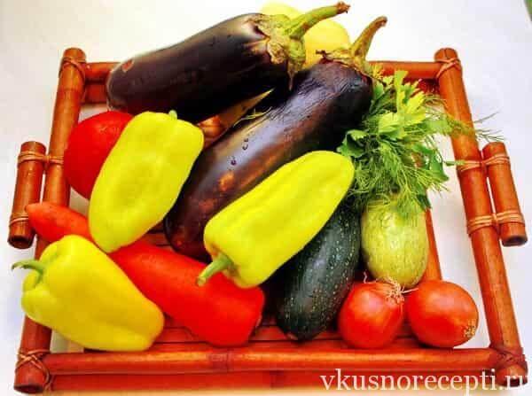 Соте из баклажанов и кабачков - ингредиенты