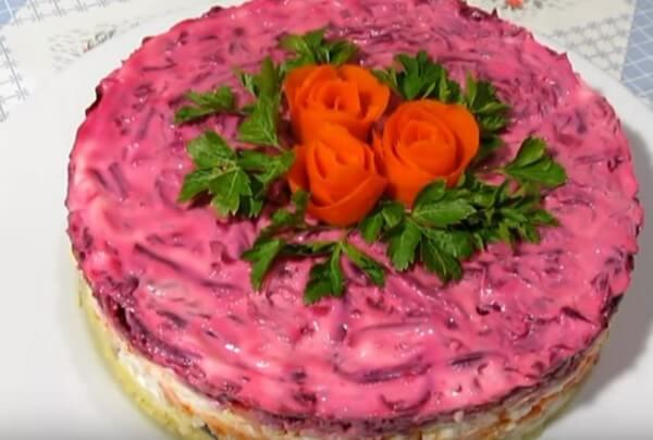 Селёдка под шубой рецепт классический с яйцом в форме торта