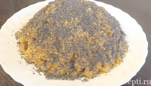 Торт муравейник из печенья с маком