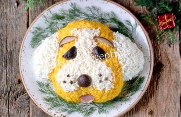 Салат в форме Собаки на Новый год