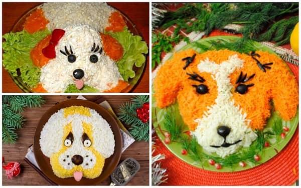 Салат в виде Собаки на Новый год идеи