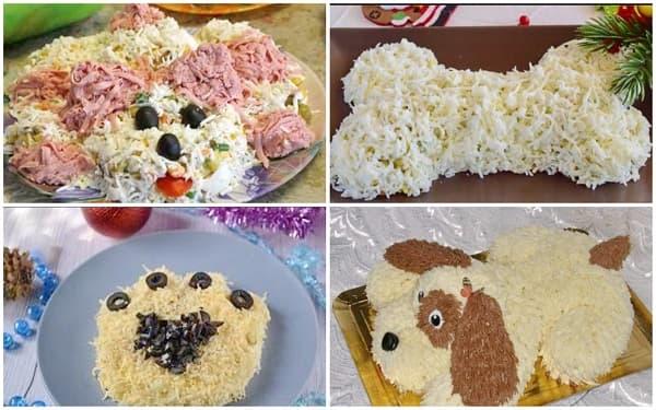 Салат в виде Собаки на Новый год фото