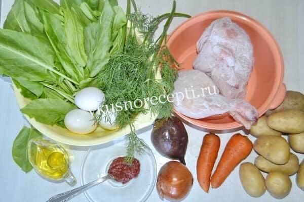 Зеленый борщ с щавелем ингредиенты